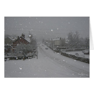 """""""Falling snow"""", Winney Hill, Harthill with Woodall Greeting Card"""