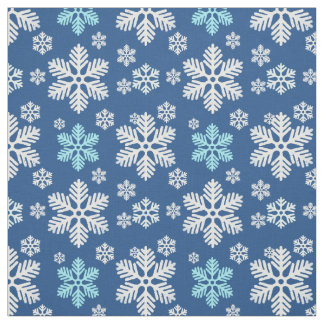 Falling Snowflakes Patterned Blue Fabric