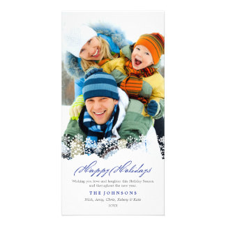 Falling Snowflakes White Christmas Holiday Photo Card