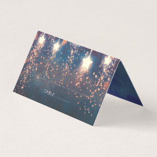 Falling Stars Blue and Pink Wedding Place Card