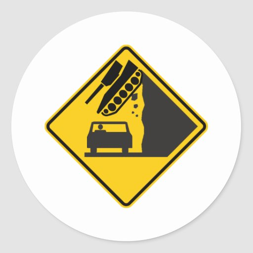 Falling Tank Zone Highway Sign Stickers