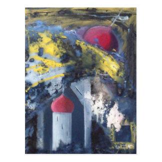 Falling Towers Modern Art Postcard