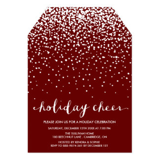 "Falling White Snow | Red Holiday Party Invitation 5"" X 7"" Invitation Card"