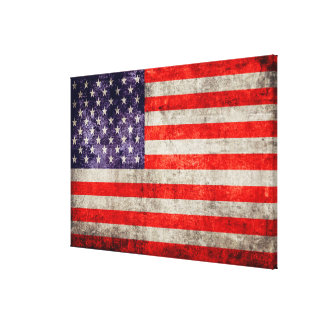 Falln Antique American Flag Canvas Print
