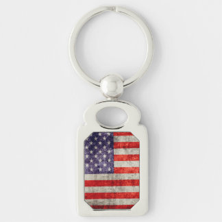Falln Antique American Flag Silver-Colored Rectangle Key Ring