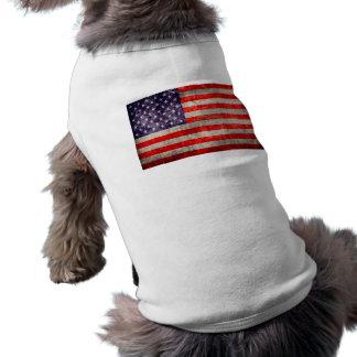 Falln Antique American Flag Sleeveless Dog Shirt