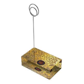 Falln Antique Golden Swirls Table Card Holder