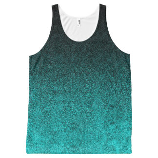 Falln Aqua & Black Glitter Gradient All-Over Print Singlet