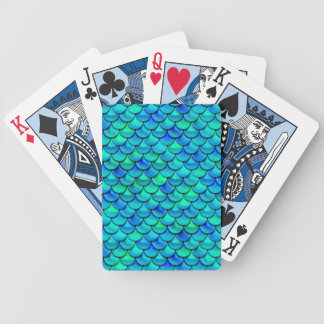 Falln Aqua Blue Scales Bicycle Playing Cards