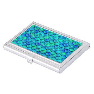 Falln Aqua Blue Scales Business Card Holder