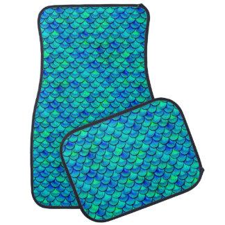 Falln Aqua Blue Scales Car Mat