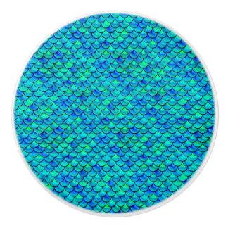 Falln Aqua Blue Scales Ceramic Knob