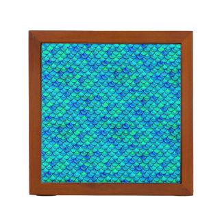 Falln Aqua Blue Scales Desk Organiser