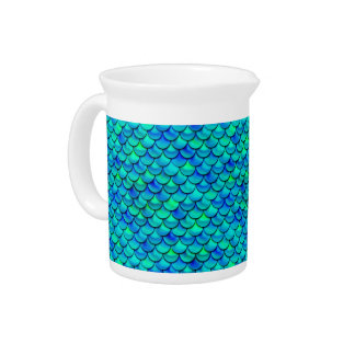 Falln Aqua Blue Scales Drink Pitchers