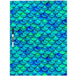 Falln Aqua Blue Scales Dry-Erase Board