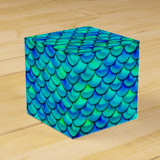 Falln Aqua Blue Scales Favour Box