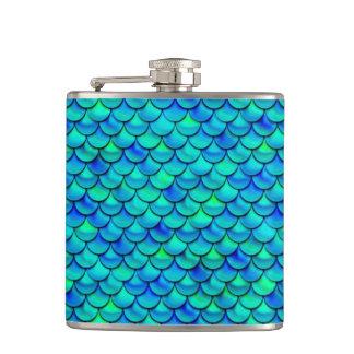 Falln Aqua Blue Scales Flask