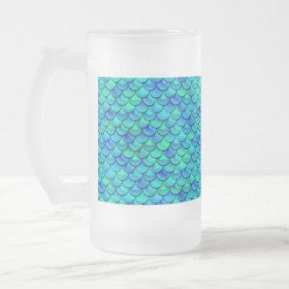 Falln Aqua Blue Scales Frosted Glass Beer Mug