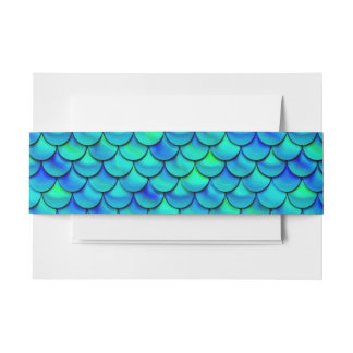 Falln Aqua Blue Scales Invitation Belly Band