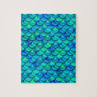 Falln Aqua Blue Scales Jigsaw Puzzle
