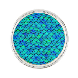 Falln Aqua Blue Scales Lapel Pin