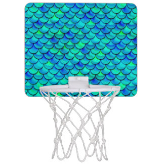 Falln Aqua Blue Scales Mini Basketball Hoop