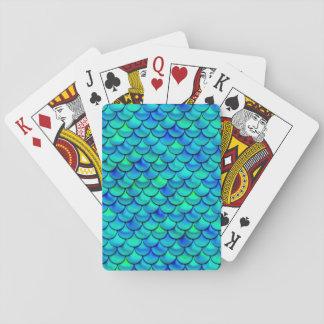 Falln Aqua Blue Scales Playing Cards