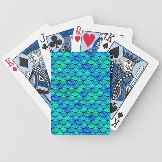 Falln Aqua Blue Scales Poker Deck