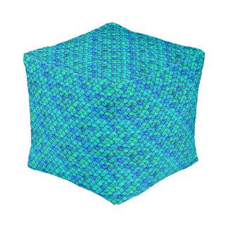Falln Aqua Blue Scales Pouf
