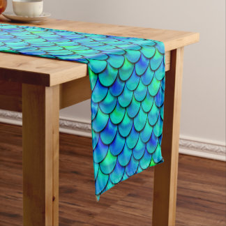 Falln Aqua Blue Scales Short Table Runner