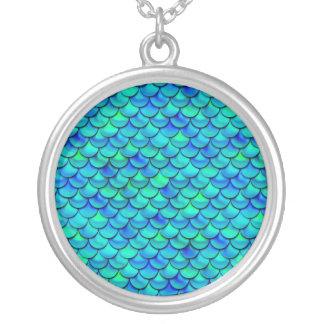 Falln Aqua Blue Scales Silver Plated Necklace