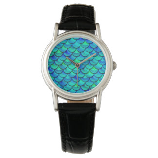 Falln Aqua Blue Scales Watch