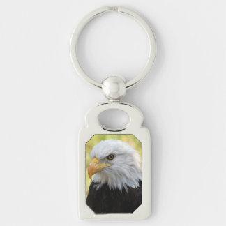 Falln Bald Eagle Liberty Silver-Colored Rectangle Key Ring