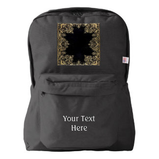 Falln Black And Gold Filigree Backpack
