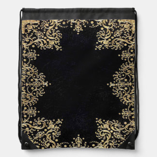 Falln Black And Gold Filigree Drawstring Bag