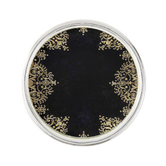 Falln Black And Gold Filigree Lapel Pin