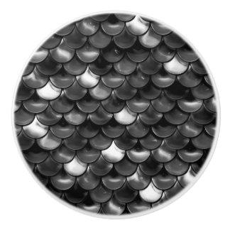 Falln Black and White Scales Ceramic Knob