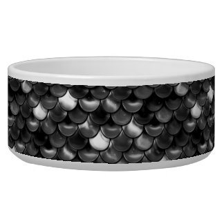 Falln Black and White Scales Dog Bowl