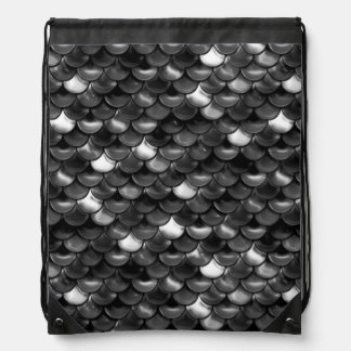 Falln Black and White Scales Drawstring Bag