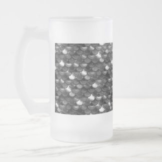 Falln Black and White Scales Frosted Glass Beer Mug