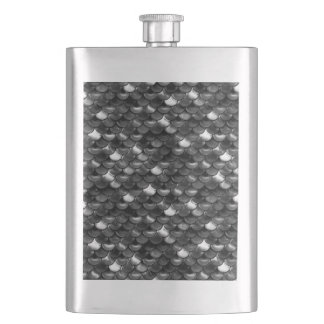 Falln Black and White Scales Hip Flask