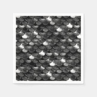 Falln Black and White Scales Paper Napkins