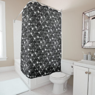 Falln Black and White Scales Shower Curtain