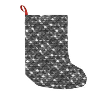 Falln Black and White Scales Small Christmas Stocking