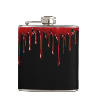 Falln Blood Drips Black Hip Flask