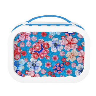 Falln Blue Cascading Floral Chirimen Lunchbox
