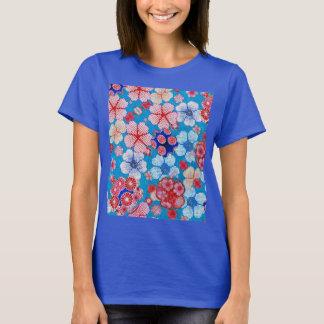 Falln Blue Cascading Floral Chirimen T-Shirt