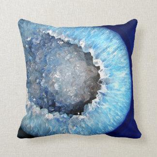 Falln Blue Crystal Geode Cushion