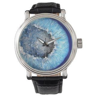 Falln Blue Crystal Geode Watch