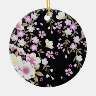 Falln Cascading Pink Flowers Ceramic Ornament